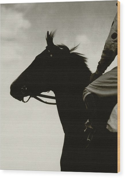 A Black Racehorse Wood Print