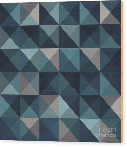 A Blue Abstract Vector Pattern Wood Print by Mike Taylor