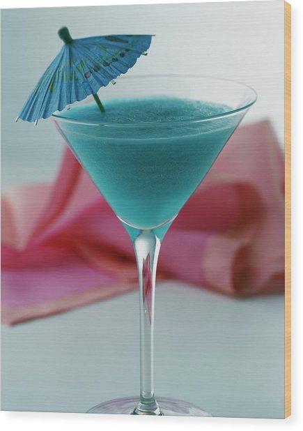 A Blue Hawaiian Cocktail Wood Print