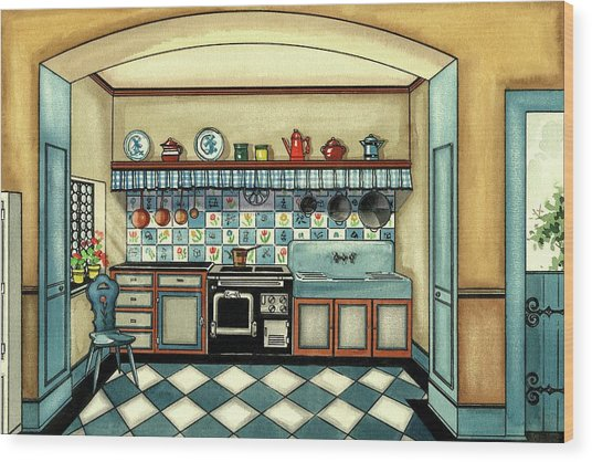 A Blue Kitchen With A Tiled Floor Wood Print