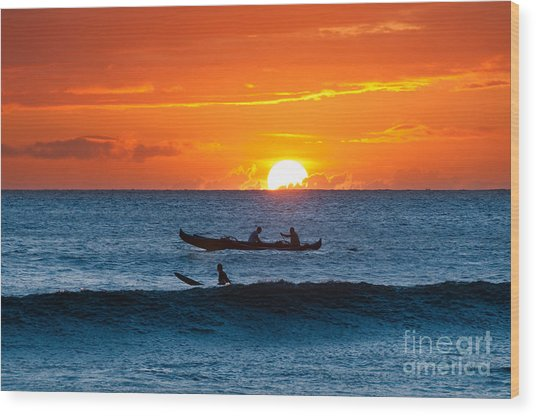 A Boat And Surfer At Sunset Maui Hawaii Usa Wood Print
