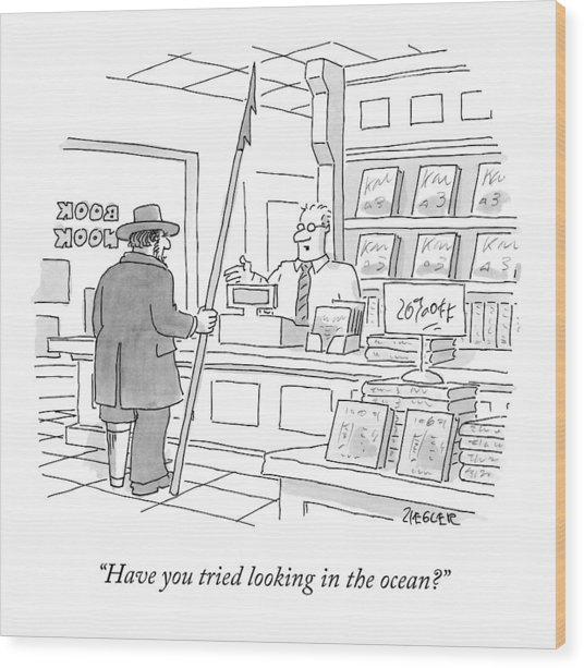 A Bookstore Clerk Speaks To Captain Ahab Wood Print