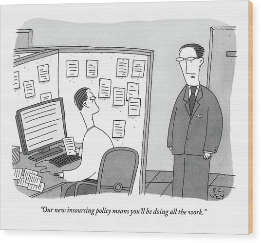 A Boss Speaks To A Man In His Cubicle As The Man Wood Print
