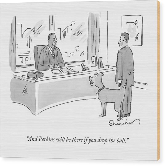 A Boss Speaks To An Employee And A Dog Wood Print