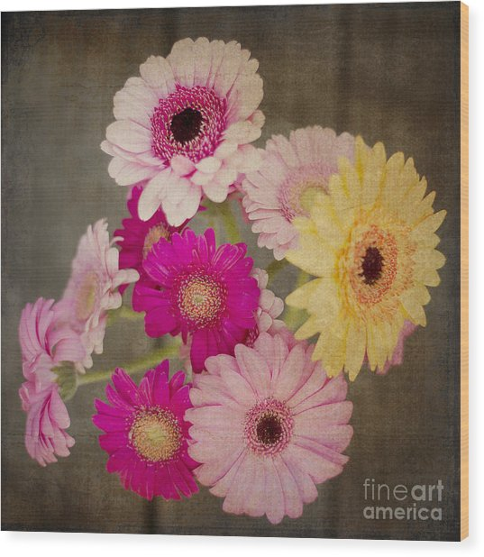 A Bouquet Of Gerbera Daisies Wood Print