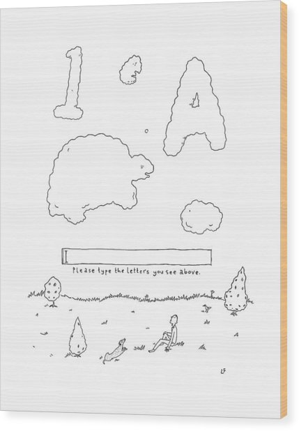 A Boy Looks Up At The Sky And Sees A Captcha Wood Print