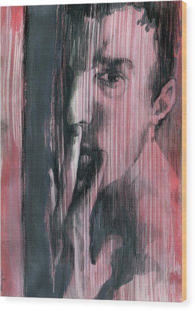 Wood Print featuring the painting A Boy Named Silence by Rene Capone
