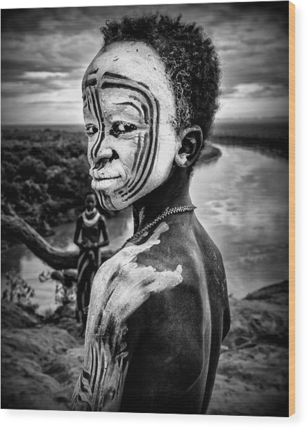 A Boy Of The Karo Tribe. Omo Valley (ethiopia). Wood Print