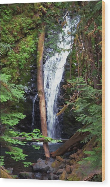 A Breathtaking Waterfall. Wood Print