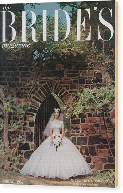 A Bride In Front Of Stone Gate Wood Print