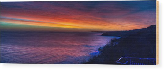 A Bright Colored Sunrise Panoramic At Scarborough Uk Wood Print