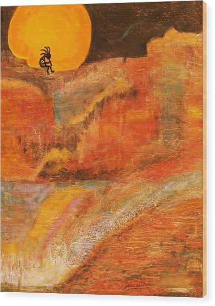 A Brighter Night With Kokopelli On A Marmalade Moon Night Wood Print by Anne-Elizabeth Whiteway
