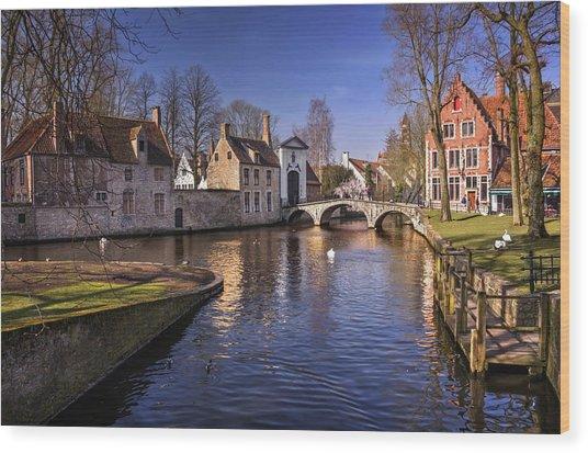 Blue Bruges Wood Print