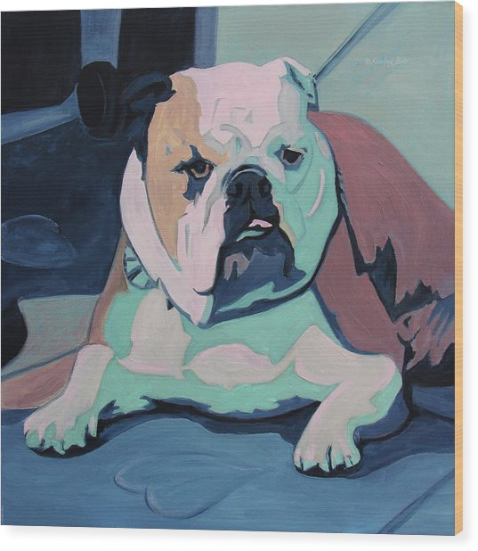 A Bulldog In Love Wood Print