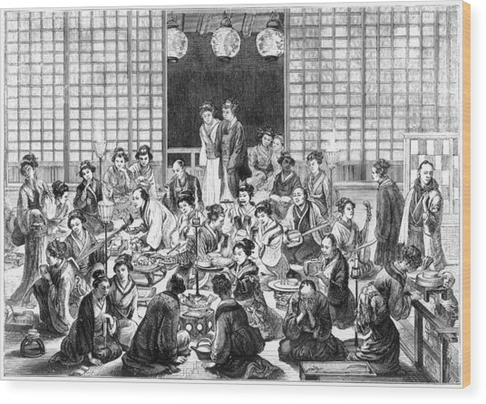 A Bustling Japanese Restaurant  Scene Wood Print by Mary Evans Picture Library