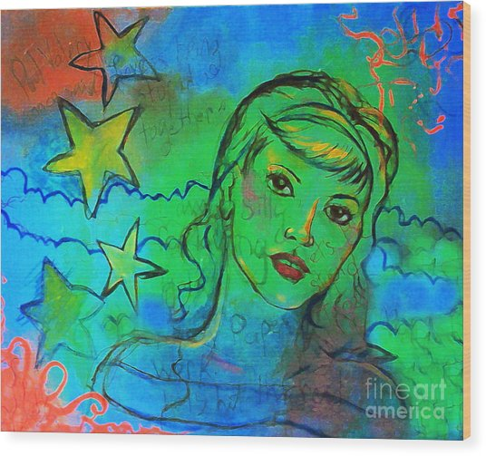 Wood Print featuring the digital art A Busy Mind by Angelique Bowman