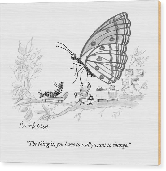 A Butterfly Speaks To A Caterpillar Wood Print
