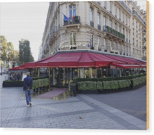A Cafe On The Champs Elysees In Paris France Wood Print