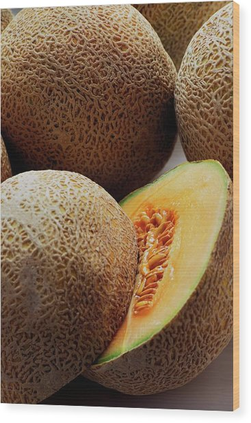 A Cantaloupe Sliced In Half Wood Print