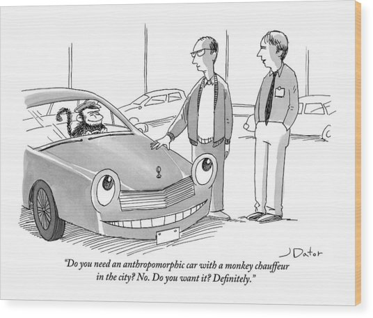 A Car Salesman Gives A Pitch To A Prospective Wood Print