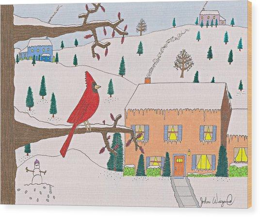 A Cardinal Christmas Wood Print