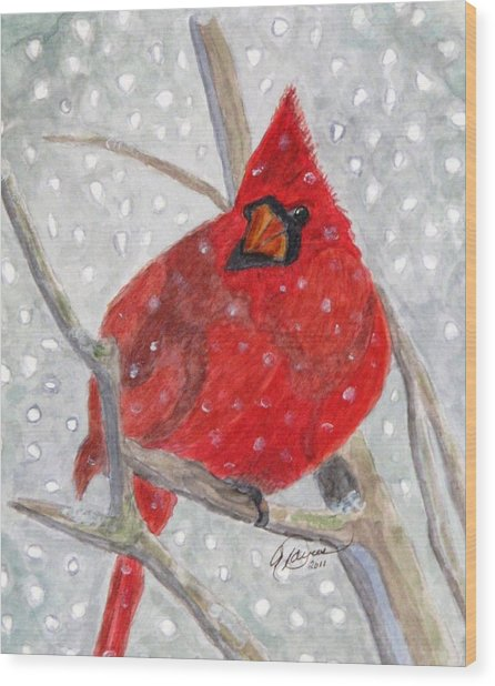 A Cardinal Winter Wood Print