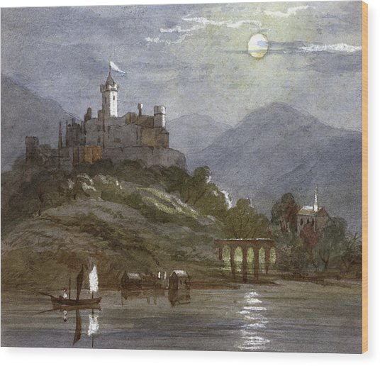 A Castle Sits On The Top Of A  Hill Wood Print by Mary Evans Picture Library