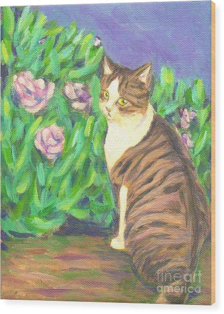 A Cat At A Garden Wood Print