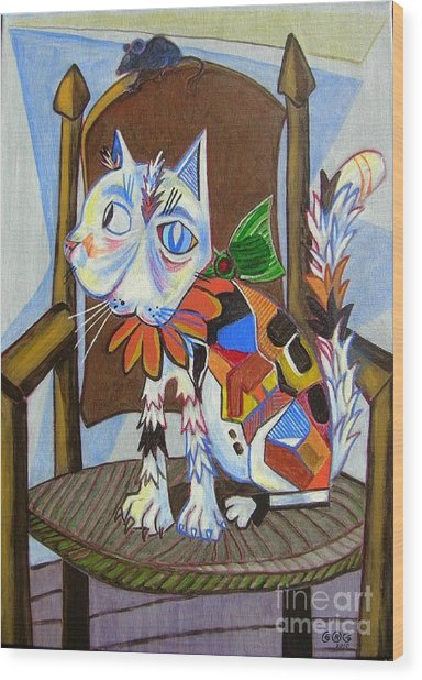 A Cat For Picasso_ Chat Et Souris Wood Print