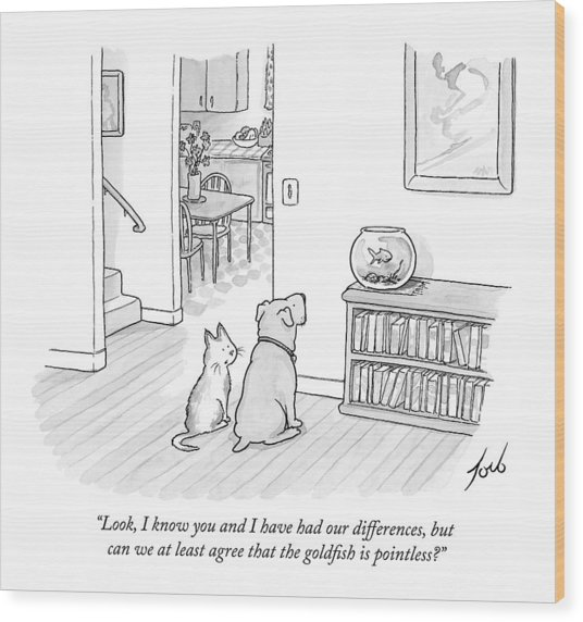 A Cat Speaks To A Dog Wood Print