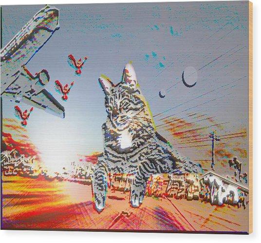 A Cat's World Wood Print