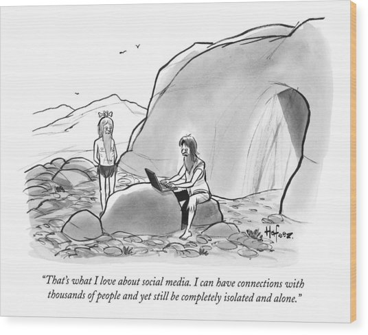A Cave Man On A Laptop Speaks To Another Caveman Wood Print