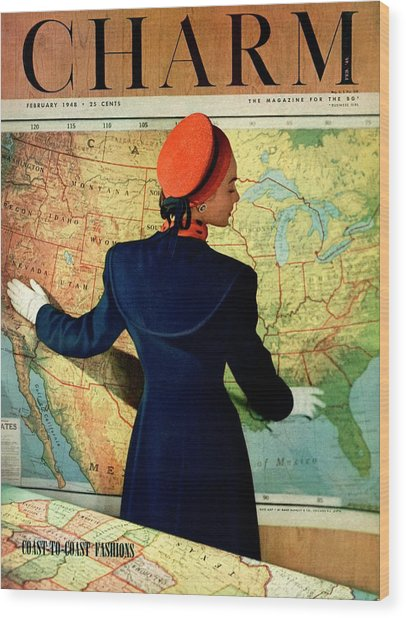 A Charm Cover Of A Model By An American Map Wood Print by Hal Reiff