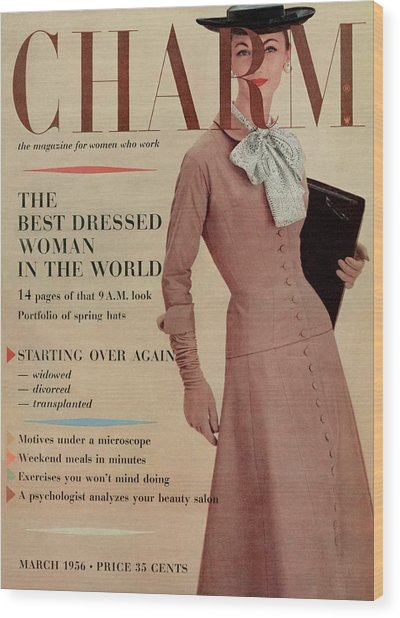 A Charm Cover Of A Model In Designer Clothing Wood Print