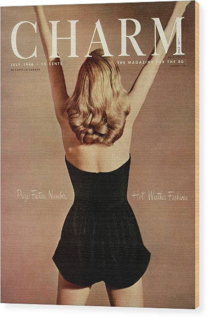 A Charm Cover Of A Model Wearing A Romper Wood Print
