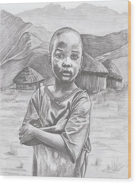 A Child Of Africa Wood Print