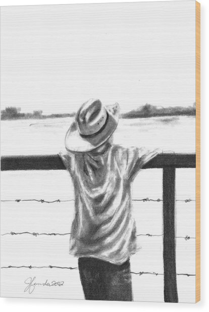 A Child On A Farm Wood Print