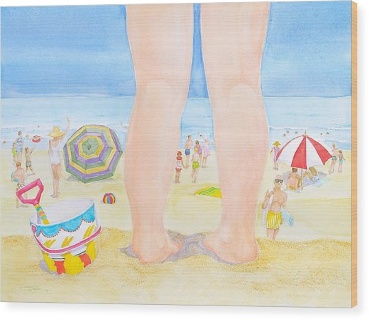A Child Remembers The Beach Wood Print