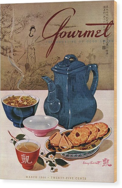 A Chinese Tea Pot With Tea And Cookies Wood Print