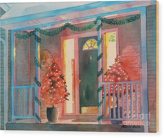 A Christmas At Home, House Prints, Porch Prints, House Paintings, House Prints, Christmas Paintings, Wood Print