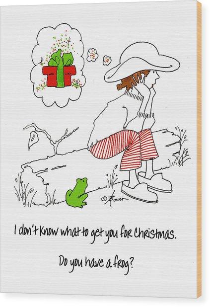 A Christmas Frog Wood Print