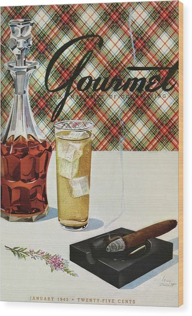 A Cigar In An Ashtray Beside A Drink And Decanter Wood Print
