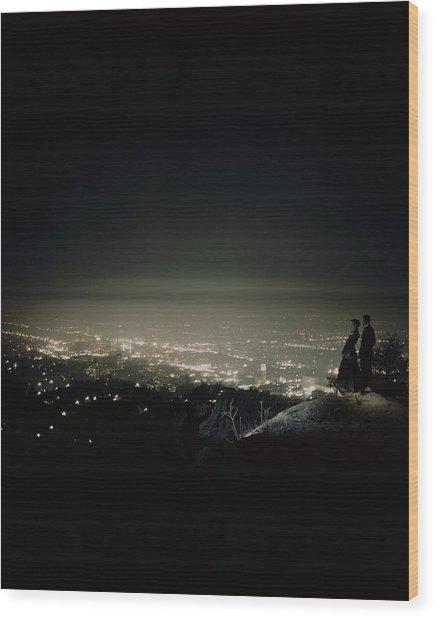 A City At Night Wood Print
