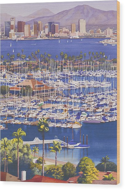 A Clear Day In San Diego Wood Print by Mary Helmreich