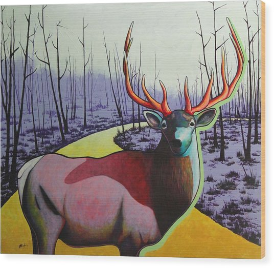 A Close Encounter In Yellowstone Wood Print by Joe  Triano