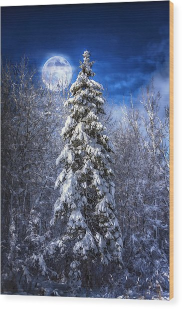 A Cold Night In Northern Maine Wood Print