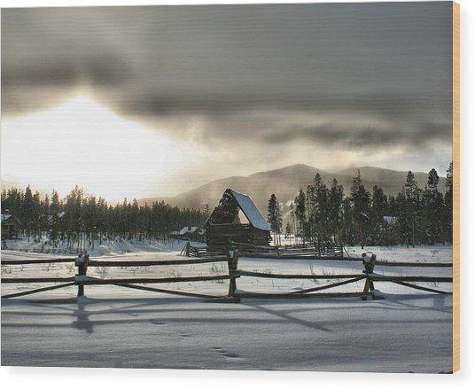 A Cold Retired Barn Wood Print by Rebecca Adams