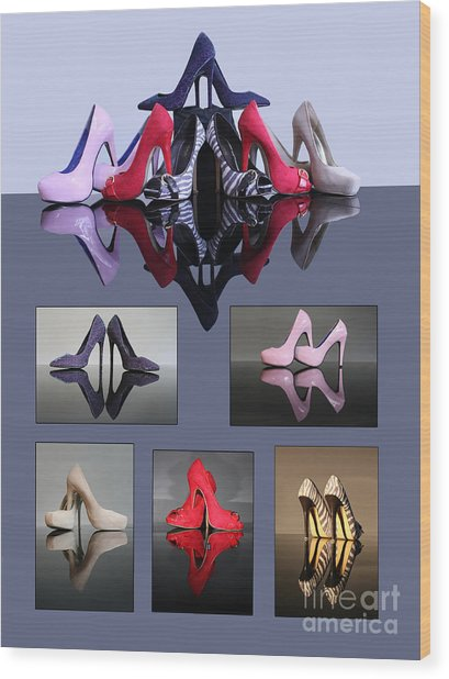 A Collection Of Stiletto Shoes Wood Print