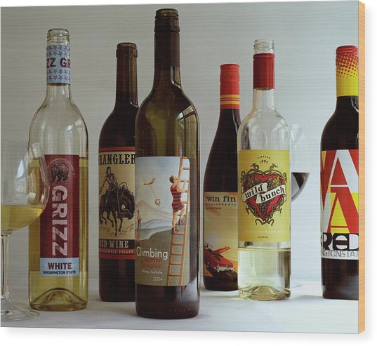 A Collection Of Wine Bottles Wood Print
