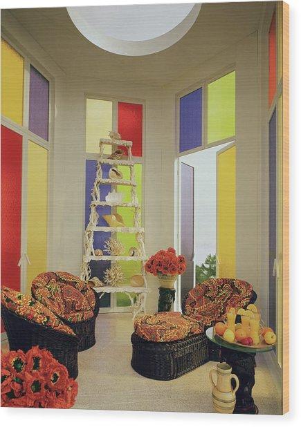 A Colorful Living Room Wood Print